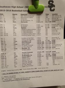 Southaven 2015-16 Schedule